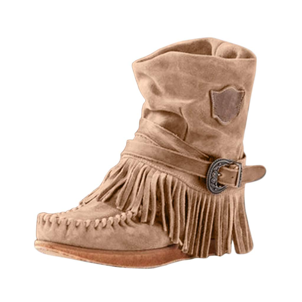 Respctful✿Women Autumn Winter Boots Fringe Mid-Calf Boots Female Cowboy Low Heel Fashion Tassel Shoes Streetwear Brown by Respctful_shoes