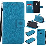 Google Pixel Xl Case Cover,SMYTU Premium Emboss Sunflower Flip Wallet Shell PU Leather Magnetic Cover Skin with Wrist Strap Case For Google Pixel Xl 2017 (Blue)