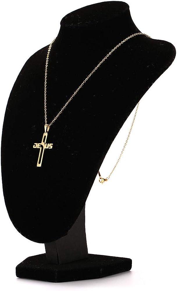 LIKGREAT Stainless Steel Jesus in Cross Pendant Necklace Delicate Religious Prayer Jewelry for Men Women