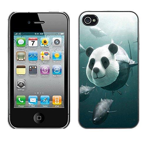 Funny Panda Tuna Illustration - For Apple iPhone 4 / 4S