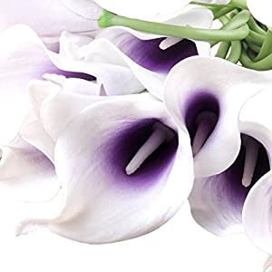 20pcs Artificial Calla Lily Bridal Wedding Bouquet Flowers Real Touch Decorative Bouquet (Purple+White) 115