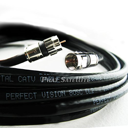 20ft Perfect Vision Solid Copper UL CM CL2 rated for in wall installation 3ghz 75 Ohm Coaxial Rg6 Directv, Dish Network, Digital Cable Tv Video Cable with PPC Compression Rg6 Fittings …