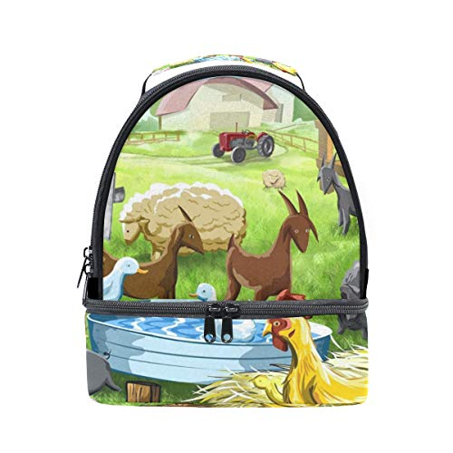 (Lunch Tote Farm Chicken Cow Pig Sheep Horse Goat Mens Insulated Lunch Bag Zipper Kids Lunch Box)