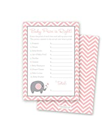 24 Chevron Elephant Baby Shower Price Game Cards (Pink) BOBEBE Online Baby Store From New York to Miami and Los Angeles