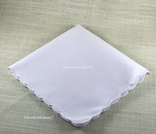 White Handkerchief scalloped edge hem. Premium material, Ultra Soft, by EmbroiderableLinens© by EmbroiderableLinens©