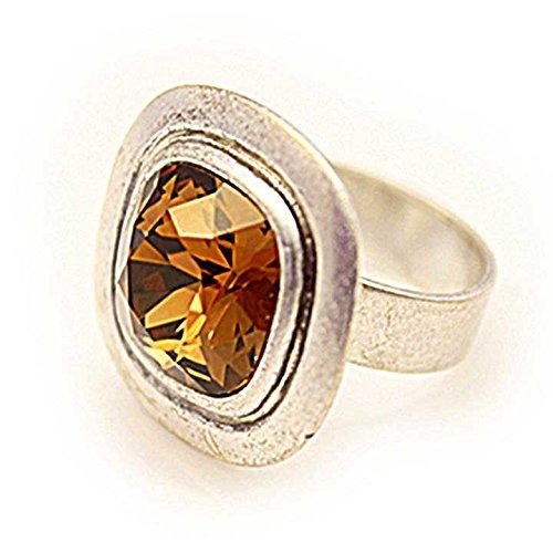 Dubin Women's Swarovski Crystal Ring Amber Amber Crystal Ring