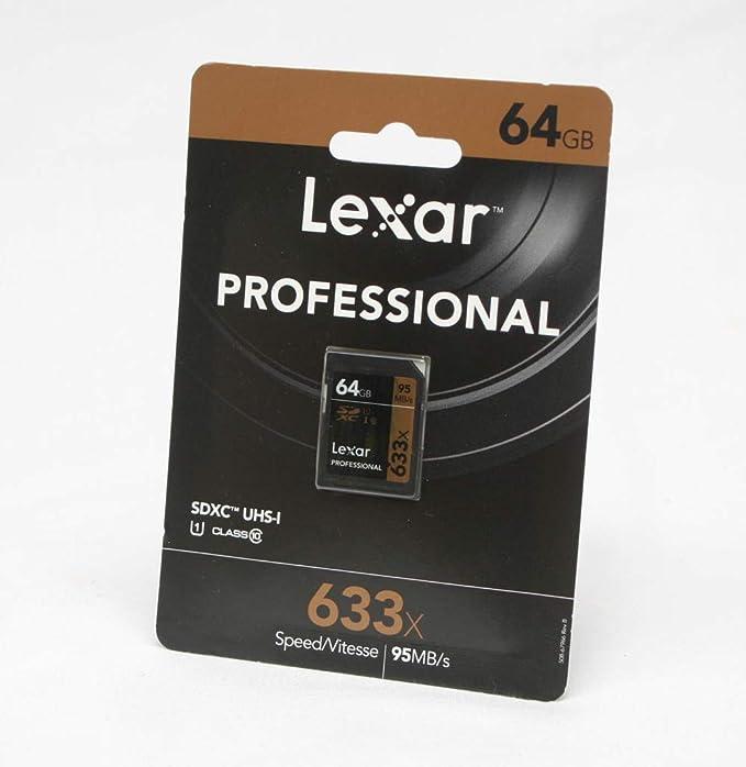 Lexar lsd64gcb1eu633Professional Class 1095MB/s Tarjeta de Memoria SDHC/SDXC UHS-I (633X), 64GB