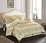 Nanshing Vivian King 7-Piece Jacquard Comforter Set, Ivory
