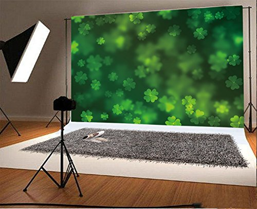 - Laeacco 7x5ft Vinyl Photography Backdrop Lucky Irish Shamrock St.Patrick's Day Green Clover Blurry Wallpaper Spring Photo Background Children Baby Adults Portraits Bright March Gaudy Bokeh