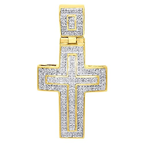 - 10K Yellow Gold Round Cut Pave Diamond Domed Double Outlined Mini Cross Men's Pendant 1.45