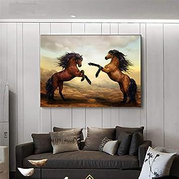 Geiqianjiumai Animal Art Mural Lienzo Pintura al óleo de Dos Caballos Corriendo para la decoración del hogar Pintura sin marco50x70cm