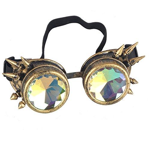 OMG_Shop Chrome Spike Padded Kaleidoscope Effect Goggles Party Glow LED Steampunk (Yellow) (Raw Eyewear)