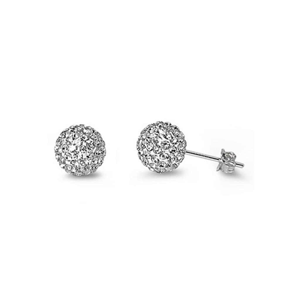 8mm Sterling Silver Simulated Cubic Zirconia Post Stud Earrings