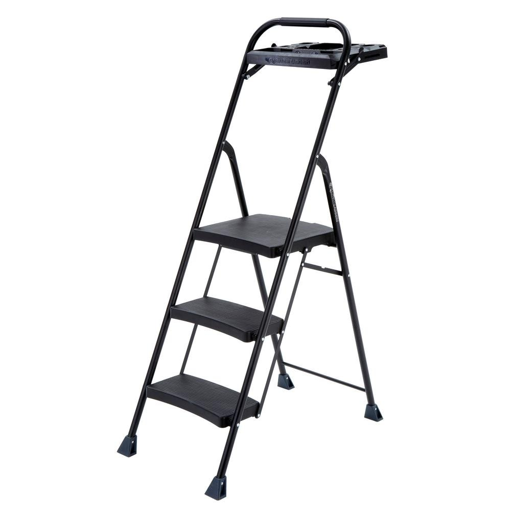 Gorilla Ladders 3-Step Steel Step Stool Pro-Grade Project Ladder with 250 lb. Load Capacity Rating