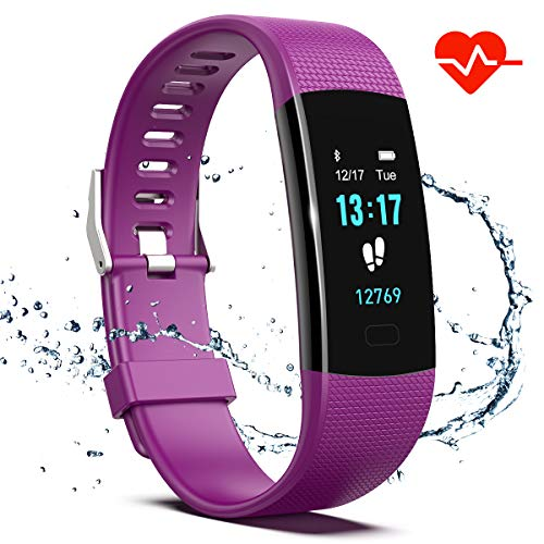 Saikee Fitness Tracker, Activity Tracker Watch with Heart Rate Monitor, Sleep Monitor, Step Counter Fitness Watch IP67 Waterproof Pedometer, Compatible with iPhone & Android (Purple) (Best Activity Tracker For Sleep)