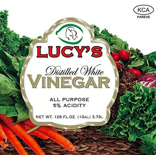 Lucy's Distilled White Vinegar, 1 Gallon (128 oz) 7 USED NATIONWIDE - From health benefits and beauty hacks to cleanliness and cooking, Lucy's 5% Distilled White Vinegar is simply the right choice! Because of its extremely affordable price, absence of preservatives, durable bottle design, super-secure seal, and Kosher Certification, this vinegar is currently being used nationwide. Customers around the country have fallen in love with Lucy's vinegar! COOKING/HEALTH - Spices up dipping sauces, preserves food, prevents food spoilage, develops flavor, makes homemade bread crusts golden brown, prevents cheese from molding, freshens wilted vegetable's, substitutes for wine, salt, or buttermilk, brightens hair, softens cuticles, whitens teeth, prevents nail polish from chipping, and can be used as a sunburn relief. CLEANING - Brightens colored clothes, removes deodorant stains, gets rid of water rings on furniture, eases ballpoint-pen marks, cleans window blinds, restores rugs, removes carpet stains, brightens up brickwork, revitalizes wood paneling, revitalizes leather furniture, conceals scratches in wood furniture, removes candle wax, unclogs and deodorizes drains, gets rid of smoke odor, cleans chrome and stainless steel, and disinfects cutting boards.