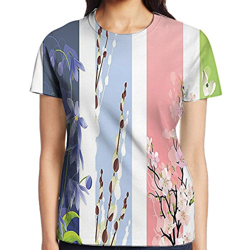 WuLion Illustration of Spring Flowers On Different Backgrounds Lily Valley Primrose Floral Women's 3D Print T Shirt XXL White