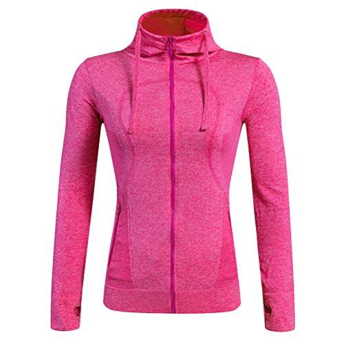 Zhhlinyuan Autumn Winter Women's Sports Long Sleeve Zipper Running Jacket Tops Rose Red