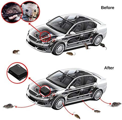 Ultraschall Marderschutz Marderabwehr Marderfrei mit LED Blitzlichtfunktion Anschluss an 12V Autobatterie f/ür Motorraum Sinicyder Marderschreck Auto PKW