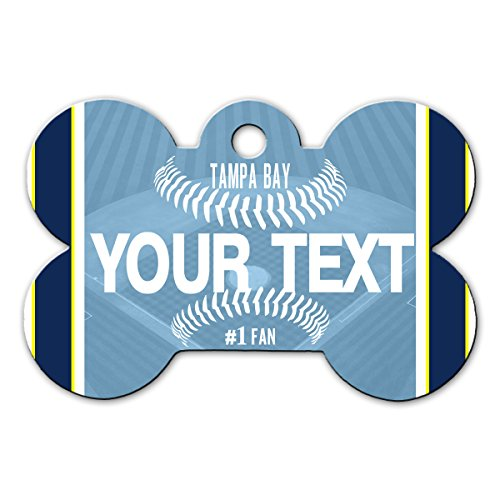 BleuReign(TM) Personalized Custom Name Baseball Tampa Bay License Plate Bone Shaped Metal Pet ID Tag with Contact Information
