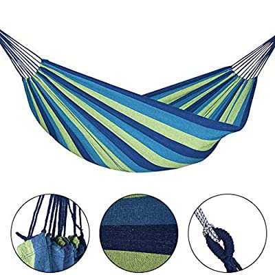 Wearefo Double Hammock Lightweight Camping Hammock Straps Swing Chair for 2 Person Extra Large Capacity Fabric Canvas Travel Hammocks Portable Tree Hammock Beach Hiking Swing Bed : Garden & Outdoor