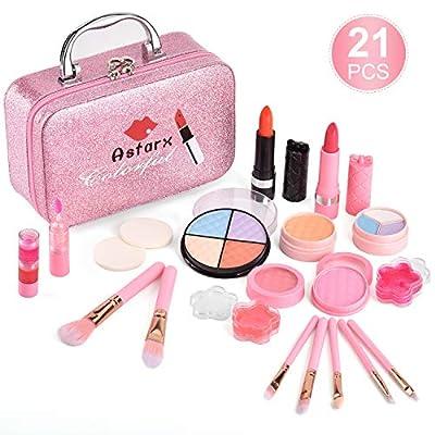 Juguetes de maquillaje AstarX para niños, cosméticos lavables reales Juego de belleza seguro y no tóxico para juegos de fiesta Halloween Navidad cumpleaños