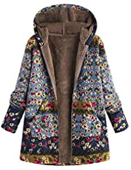 Zackate Womens Winter Warm Outwear, Floral Print Hooded Pockets Vintage Oversize Coats Down Jacket