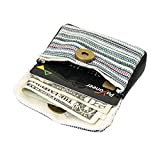 Striped Canvas and Leather Coin Pouch Handmade by Hide & Drink