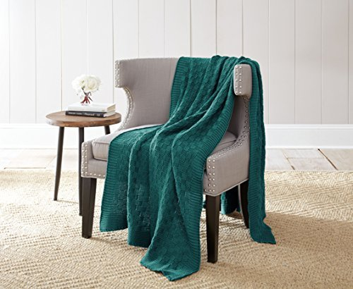 Amrapur Overseas | 100% Cotton Oversized Cable Chunky Knit Throw (Teal Blue) - SET INCLUDES: (1) Throw MATERIALS: 100% Cotton FEATURES: This slightly over-sized throw gives you the comfort you crave for an evening curled up on the sofa. - blankets-throws, bedroom-sheets-comforters, bedroom - 51LBdfe1x5L -