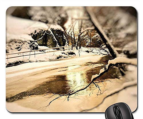 Mouse Pad - ICY Cold Winter River Frost Icicle Ice Frozen