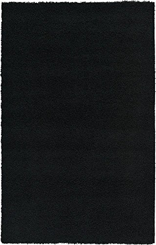 Unique Loom Solo Solid Shag Collection Modern Plush Jet Black Rectangle (5' x 8') by Unique Loom (Image #2)