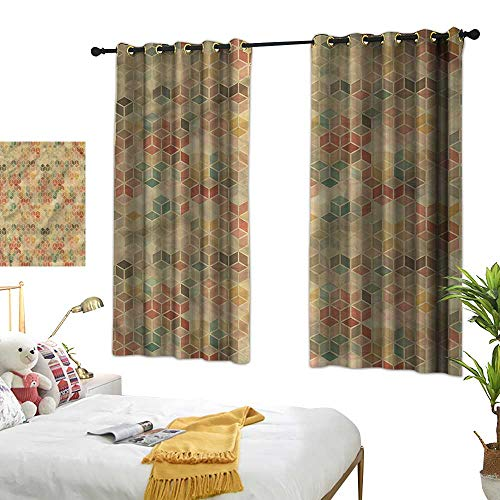 Polyester Curtain Geometric Bedroom Blackout Curtains Retro Cube Pattern 63
