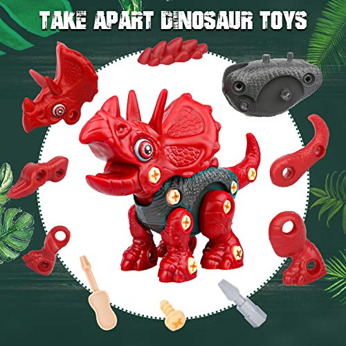 Sanlebi Toy for 4 5 6 Year Old Boys Take Apart Dinosaur Toys for Kids Building Toy Set with Electric Drill Construction…