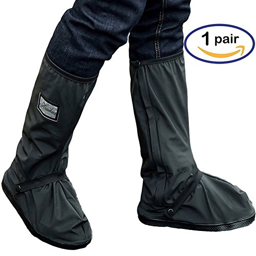 Holyami Waterproof Rain Boots Shoes Covers for Women Men-Black Anti Slip Reusable Washable Rain Snow Boots Cover with Reflective Strip-Travel Bike Motorcycle Boots Shoe Cover Rain Suit/Gear(1 (Bicycle Riding Suit)