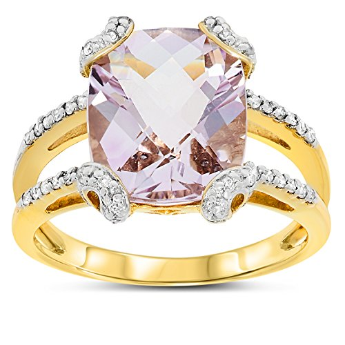 Cut Pink Amethyst Ring (10k Yellow Gold Cushion Shape Genuine Pink Amethyst Gemstone and Diamond Ring, Birthstone of February)