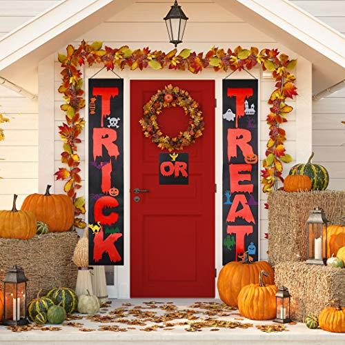 Halloween Porch Sign,Coxeer Trick or Treat Halloween Banner Outdoor, Halloween Hanging Sign Banner with 16 DIY Accessories,Home Porch Front Door Halloween Decorations