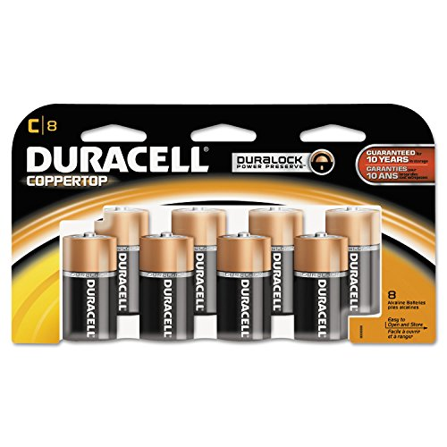 CopperTop Alkaline Batteries with Duralock Power Preserve Technology, C, 8/Pack