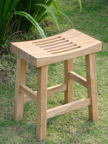 A-Grade Teak Wood Double Curved Seat Shower Bath Spa Stool Bench Outdoor Garden