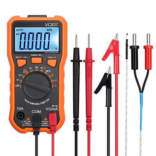 - Proster PSTTL334 Digital Multimeter 6000 Counts TRMS Auto Range NCV Detector DC AC Voltage Current Meter Temperature Capacitance Diode and Continuity Tester, Manual