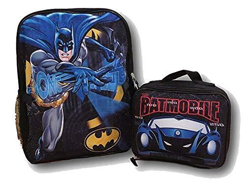 "DC Batman Boys School Backpack Bookbag Combo Set 16"""