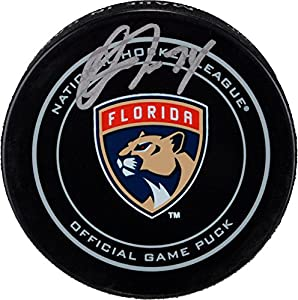Owen Tippett Florida Panthers Autographed Official Game Puck - Fanatics Authentic Certified - Autographed NHL Pucks