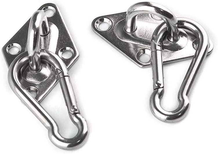 Hanging Hardware Fitting Set U Hook with Screw 4 Pack M6 Stainless Steel Pad Eye and 4 Pack M6 Snap Hook
