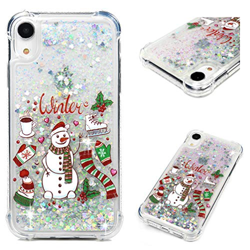 (iPhone Xr Case, MOLLYCOOCLE 3D Liquid Fashion Creative Flowing Floating Christmas Snowman Bling Glitter Sparkle Diamond Soft TPU Bumper Slim Fit Gift Cover Case for iPhone Xr 6.1'')