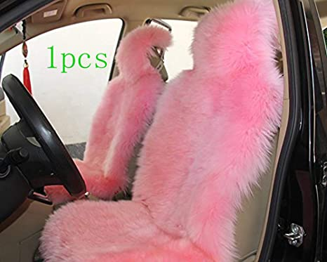 Excellent Oflba 1Pcs Faux Sheepskin Car Seat Covers For Suv Long Wool Universal Fit Artificial Fur Seat Cover Cushion Pink Pabps2019 Chair Design Images Pabps2019Com