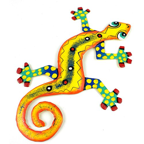 Eight Inch Dots and Yellow Metal Gecko