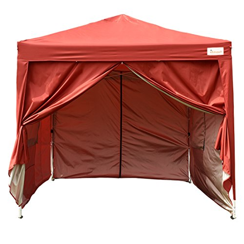 Kingbird 10 x 10 ft Easy Pop up Canopy Waterproof Party Tent 4 Removable Walls Mesh Windows with Carry Bag-7 Colors (rust red) by Kingbird