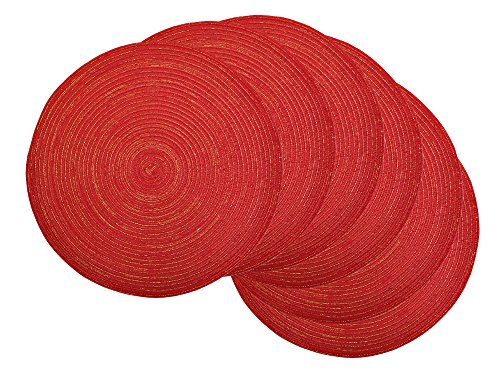 DII Round Woven, Indoor & Outdoor Braided Sparkle Placemat or Charger, Set of 6, Sparkle Red