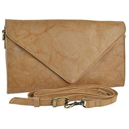 Versitile LEATHER Stylish Classic GiGi HANDBAG Soft Envelope CLUTCH Ladies Honey by qTAHx