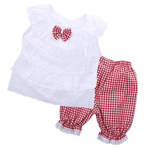 (Mina + Willie Two-Piece Gingham and Lace Outfit with Red Or Black Shorts - for Infants, Toddlers, Kids)