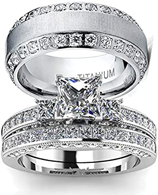 Wedding Ring Set Two Rings His Hers Couples Matching Rings Women S